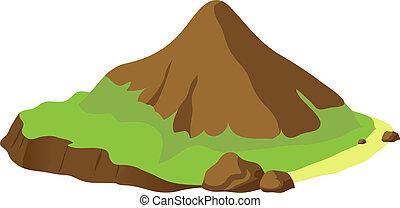 montaña, vector, ilustración