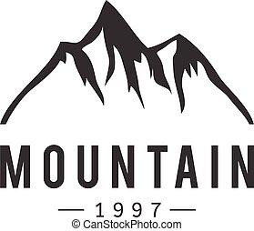 montaña, vector, insignia, icono