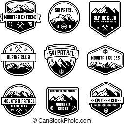 montaña, vector, insignias