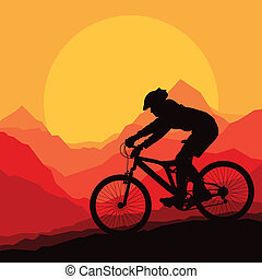 montaña, vector, naturaleza, ilustración, bicicleta, plano ...