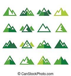 montaña, vector, verde, iconos, conjunto