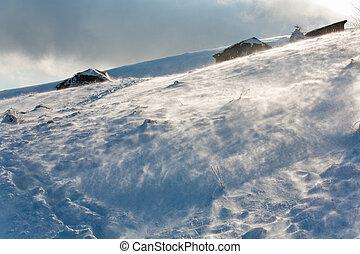 montaña, ventoso, vista, invierno, nevoso