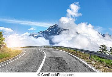 montaña, verano, camino, day.