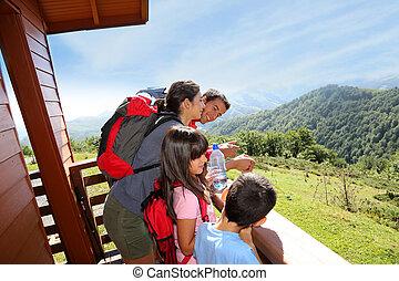 montaña, viaje dificultoso, familia , mirar, día, vista