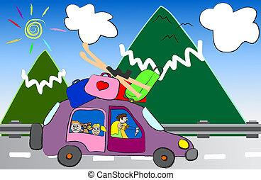 Montaña, viaje, familia, caricatura