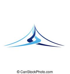 montaña, virtual, logotipo