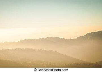 montaña, y, capa, sepia, vendimia, concepto