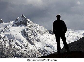 montaña, y, hombre
