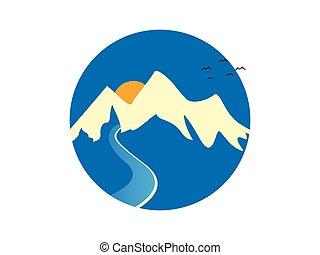 montaña, y, río, logotipo