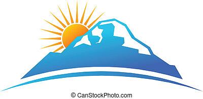 montaña, y, sol, en, horizonte, logotipo