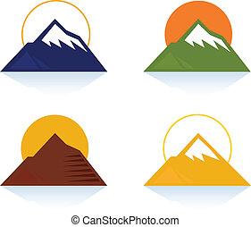 montaña, y, turista, iconos