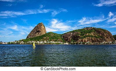 montaña, yate, navegación, janeiro, de, bahía, amarillo,...