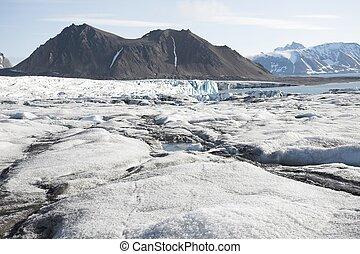 montañas, ártico, paisaje, glaciares