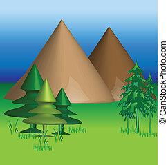 montañas, 3, vector, d, plano de fondo