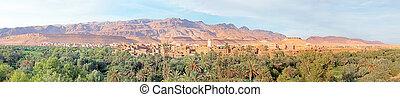montañas, aldea, marruecos, marroquí, panorama
