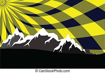 montañas altas, con, resumen, cielo