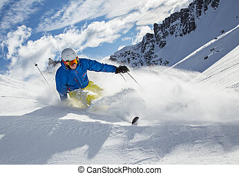 montañas altas, esquiador, cuesta abajo esquiar