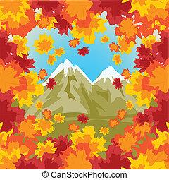 montañas altas, fondo, otoño, hoja