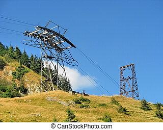 montañas altas, pilón, cablecar