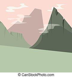 montañas altas, resumen, natural, paisaje