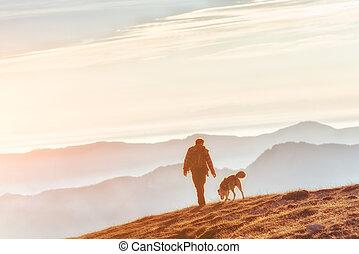 montañas, ambulante, el suyo, perro, hombre