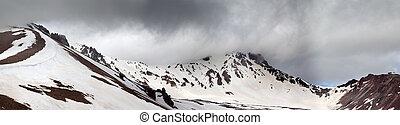 montañas, antes, panorama, lluvia, nevoso