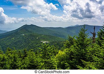 montañas, appalachian, torre, vista, observación