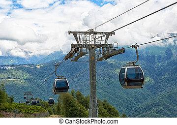 montañas, arriba, teleférico, góndola, cierre