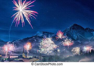 montañas, austríaco, nevoso, nuevo, eva, fuego artificial, ...