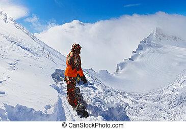montañas, austria, recurso esquí, kaprun