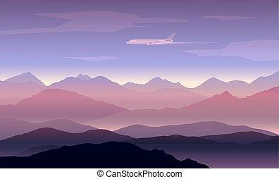 montañas, avión, picos, plano de fondo