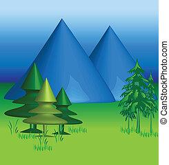 montañas, azul, 3, vector, d