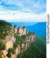 montañas azules, australia, nacional, punto, tres, eco, parque, hermanas, nsw