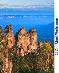 montañas azules, australia, nacional, punto, tres, eco,...