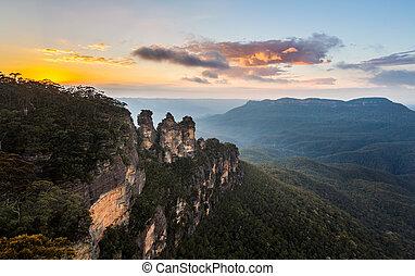 montañas azules, australia, punto, eco, salida del sol