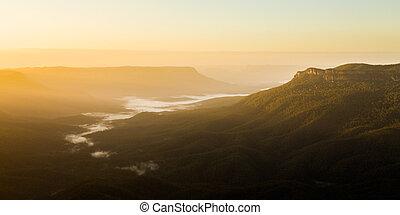 montañas azules, australia, punto, salida del sol, sublime