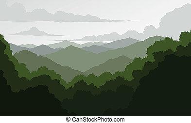montañas azules, caballete
