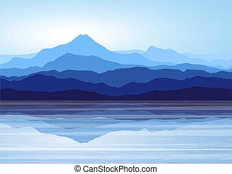 montañas azules, cerca, lago