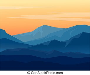 montañas azules, crepúsculo