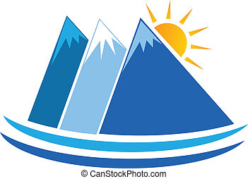 montañas azules, logotipo, vector