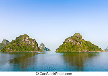 montañas, bahía larga, vietnam, verde, ha