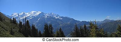 montañas blancas, con, nieve, aiguillette, des, houches,...