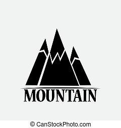 montañas, blanco, fondos, aislado