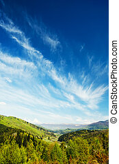 montañas, bosque verde, paisaje