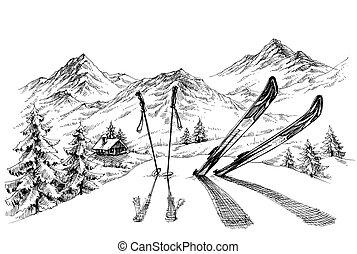 montañas, bosquejo, invierno, panorama, vacaciones, plano de...