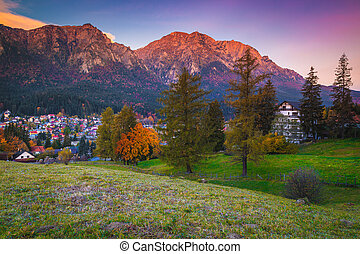 montañas, bucegi, busteni, amanecer, rumania, hermoso, paisaje, transylvania