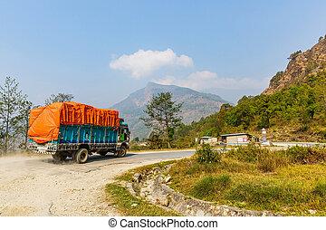 montañas, camión