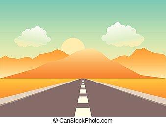 montañas, camino, título, vacío