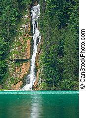 montañas, cascada, lago, paisaje, entre