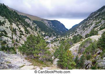 montañas, Cataluña,  vall,  nuria,  De, pirineos, españa